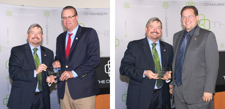 David Long and Martin Carbaugh receive awards from Greater Fort Wayne Inc.